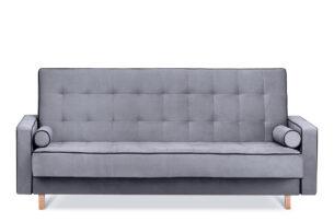 DOZER, https://konsimo.pl/kolekcja/dozer/ Szara sofa 3 osobowa z funkcją spania szary/czarny - zdjęcie
