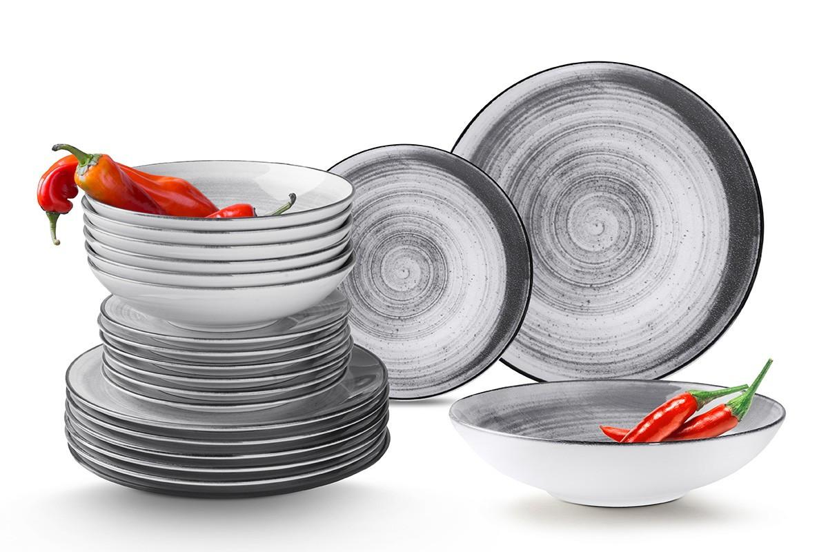 Nowoczesny zestaw talerzy obiadowych dla 12 os. 36 elementów szary