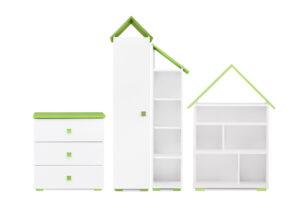 PABIS, https://konsimo.pl/kolekcja/pabis/ Zestaw meble do pokoju dziecka zielone 4 elementy biały/zielony - zdjęcie