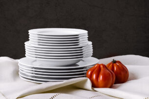 MUSCARI, https://konsimo.pl/kolekcja/muscari/ Zestaw obiadowy, 6 os. (18el) biały - zdjęcie