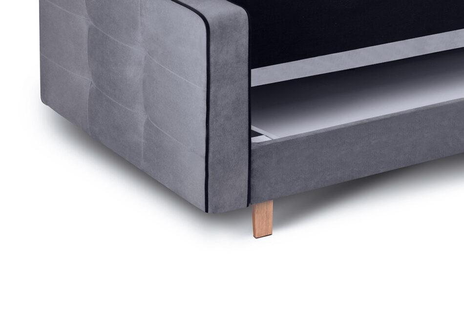 DOZER Szara sofa 3 osobowa z funkcją spania szary/czarny - zdjęcie 6