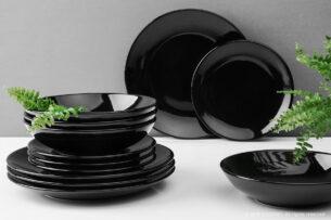 LUPIN, https://konsimo.pl/kolekcja/lupin/ Zestaw obiadowy dla 4 osób czarny czarny - zdjęcie