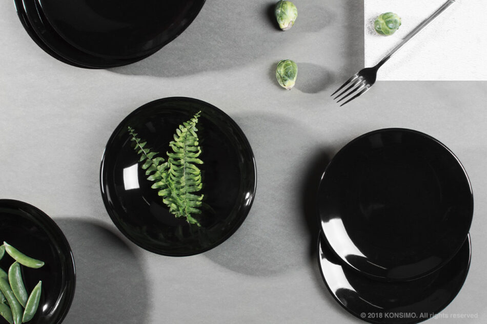 LUPIN Zestaw obiadowy dla 12 osób czarny czarny - zdjęcie 1