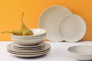 LUPIN, https://konsimo.pl/kolekcja/lupin/ Zestaw obiadowy, 6 os. (18el) beżowy - zdjęcie