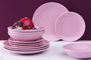 LUPIN, https://konsimo.pl/kolekcja/lupin/ Zestaw obiadowy dla 6 osób różowy różowy - zdjęcie
