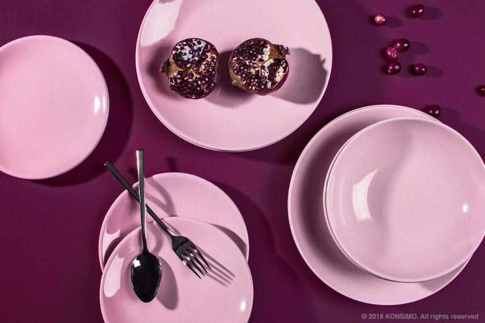 LUPIN Zestaw obiadowy, 4 os. (12el) różowy - zdjęcie 7