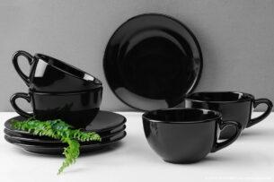 LUPIN, https://konsimo.pl/kolekcja/lupin/ Zestaw herbaciany dla 4 osób czarny czarny - zdjęcie