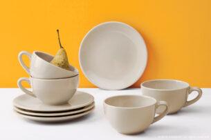 LUPIN, https://konsimo.pl/kolekcja/lupin/ Zestaw herbaciany dla 4 osób beżowy beżowy - zdjęcie