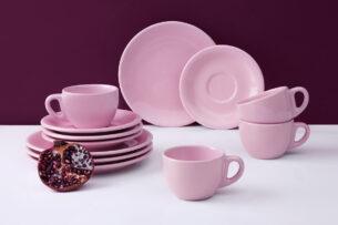 LUPIN, https://konsimo.pl/kolekcja/lupin/ Zestaw kawowy, 4 os. (12 el) różowy - zdjęcie
