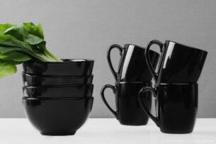 LUPIN, https://konsimo.pl/kolekcja/lupin/ Zestaw śniadaniowy dla 4 osób czarny czarny - zdjęcie