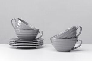 SCILLA, https://konsimo.pl/kolekcja/scilla/ Zestaw herbaciany dla 4 osób szary szary - zdjęcie
