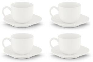 RESEDA, https://konsimo.pl/kolekcja/reseda/ Zestaw filiżanek do kawy, 4 os. (8 el) biały - zdjęcie