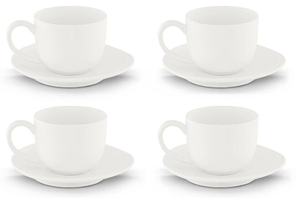 RESEDA Zestaw kawowy porcelanowy dla 4 osób biały biały - zdjęcie 0