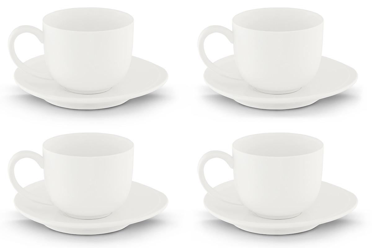 Zestaw kawowy porcelanowy dla 4 osób biały