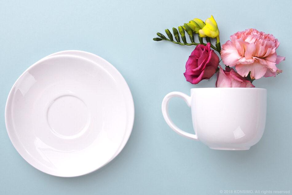 RESEDA Zestaw kawowy porcelanowy dla 4 osób biały biały - zdjęcie 2