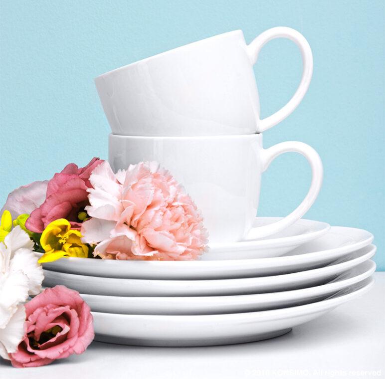 RESEDA Zestaw kawowy porcelanowy dla 4 osób biały biały - zdjęcie 4