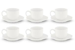 RESEDA, https://konsimo.pl/kolekcja/reseda/ Zestaw filiżanek do kawy, 6 os. (12 el) biały - zdjęcie