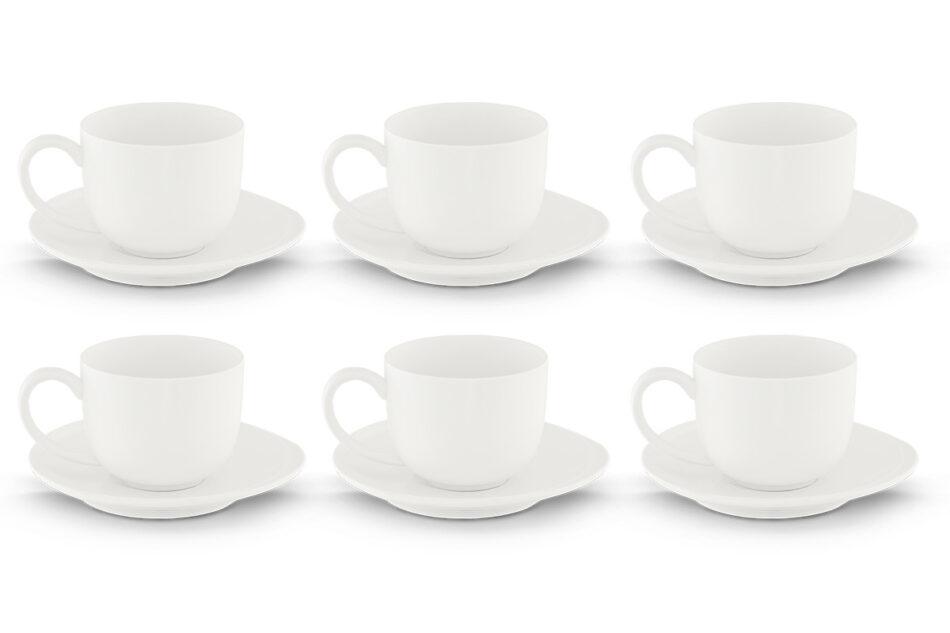 RESEDA Zestaw kawowy porcelanowy dla 6 osób biały biały - zdjęcie 0