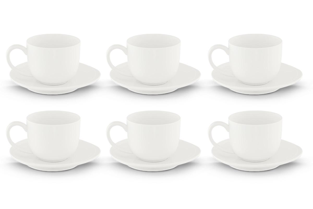 Zestaw kawowy porcelanowy dla 6 osób biały