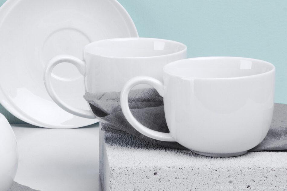 RESEDA Zestaw kawowy porcelanowy dla 6 osób biały biały - zdjęcie 1