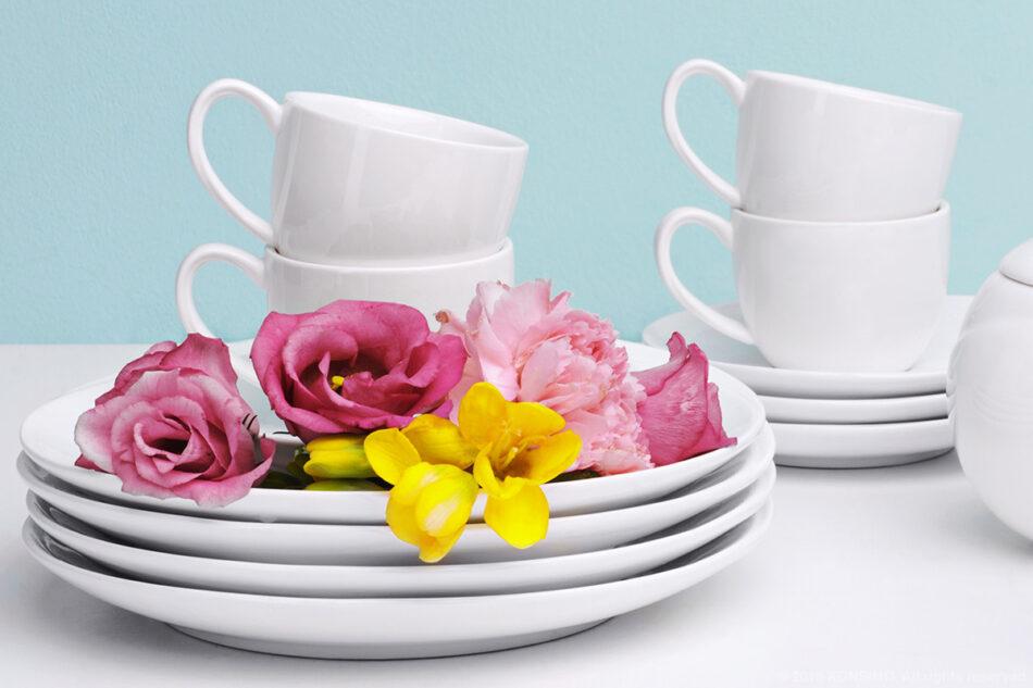 RESEDA Zestaw kawowy porcelanowy dla 6 osób biały biały - zdjęcie 5
