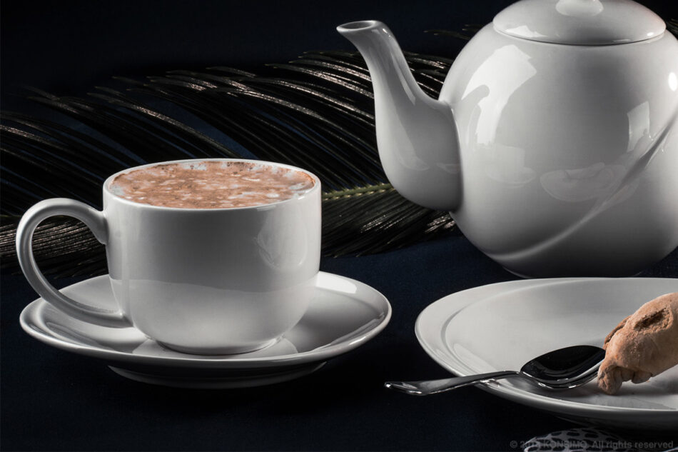 RESEDA Zestaw kawowy porcelanowy dla 6 osób biały biały - zdjęcie 6