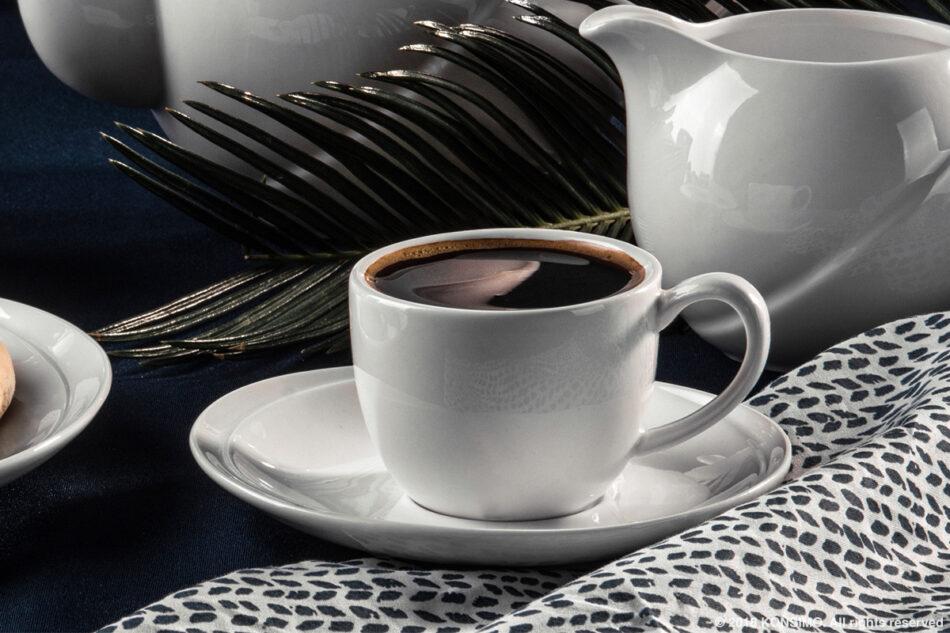 RESEDA Zestaw kawowy porcelanowy dla 6 osób biały biały - zdjęcie 2