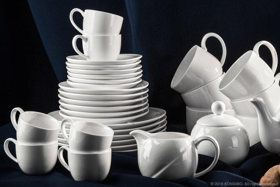 RESEDA Zestaw kawowy porcelanowy dla 6 osób biały biały - zdjęcie 3