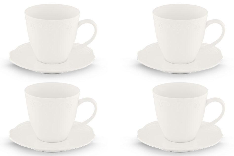 SOLANA Klasyczny zestaw filiżanek do kawy biały 8 elementów dla 4 osób kremowy - zdjęcie 0