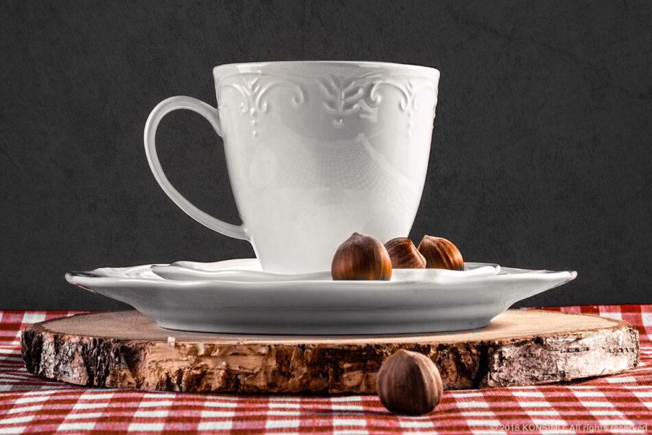 SOLANA Klasyczny zestaw filiżanek do kawy biały 8 elementów dla 4 osób kremowy - zdjęcie 1