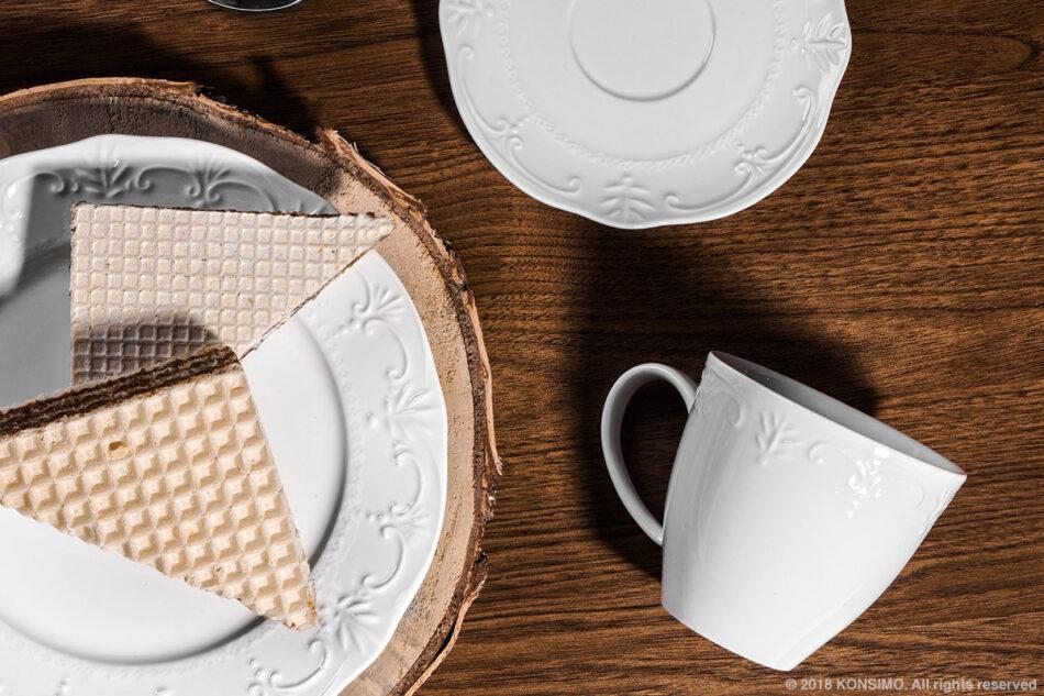 SOLANA Klasyczny zestaw filiżanek do kawy biały 8 elementów dla 4 osób kremowy - zdjęcie 3