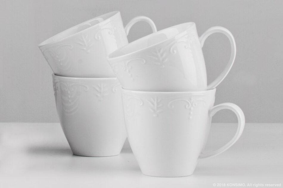 SOLANA Klasyczny zestaw filiżanek do kawy biały 8 elementów dla 4 osób kremowy - zdjęcie 2