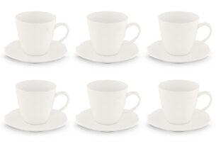 SOLANA, https://konsimo.pl/kolekcja/solana/ Zestaw filiżanek do kawy, 6 os. (12 el) kremowy - zdjęcie