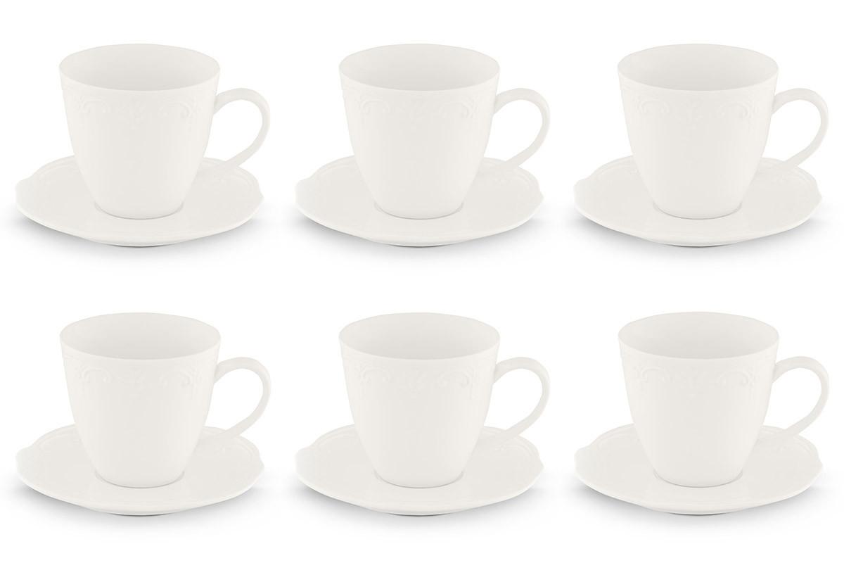 Klasyczny zestaw filiżanek do kawy biały 12 elementów dla 6 osób