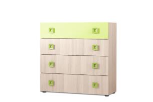 FINKO, https://konsimo.pl/kolekcja/finko/ Komoda z szufladami do pokoju dziecięcego jesion / zielona jesion/zielony - zdjęcie