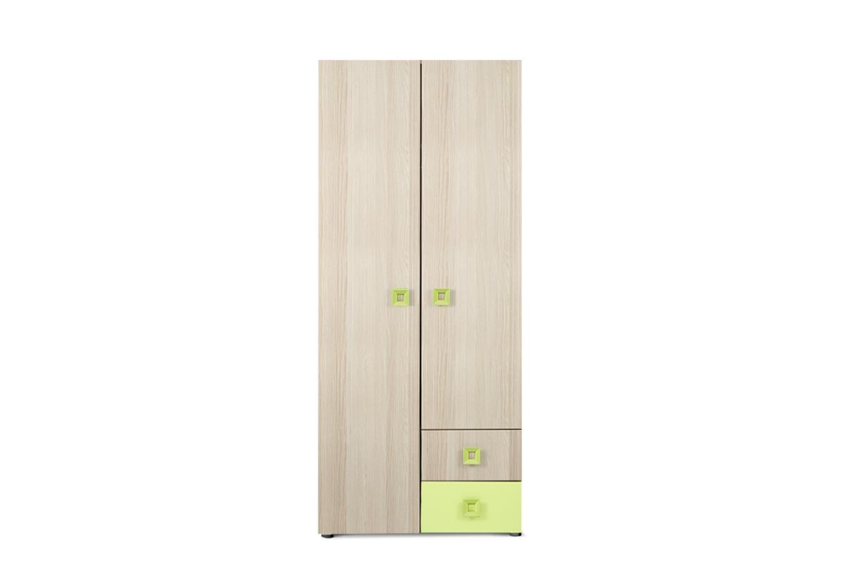 Szafa ubraniowa do pokoju dziecięcego 80 cm jesion / zielona