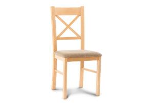 CRAM, https://konsimo.pl/kolekcja/cram/ Proste krzesło drewniane krzyżak buk tkanina pleciona beż buk/beżowy - zdjęcie