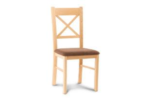 CRAM, https://konsimo.pl/kolekcja/cram/ Proste krzesło drewniane krzyżak buk tkanina pleciona brąz buk/brązowy - zdjęcie