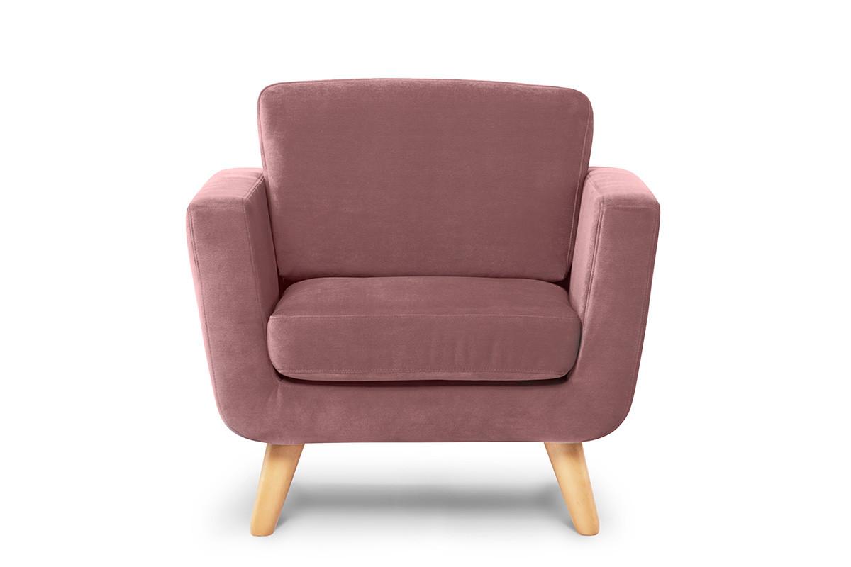 Różowy fotel skandynawski welur