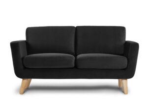 TAGIO, https://konsimo.pl/kolekcja/tagio/ Czarna skandynawska sofa 2 osobowa czarny - zdjęcie