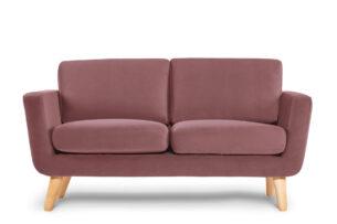 TAGIO, https://konsimo.pl/kolekcja/tagio/ Różowa skandynawska sofa 2 osobowa koralowy - zdjęcie