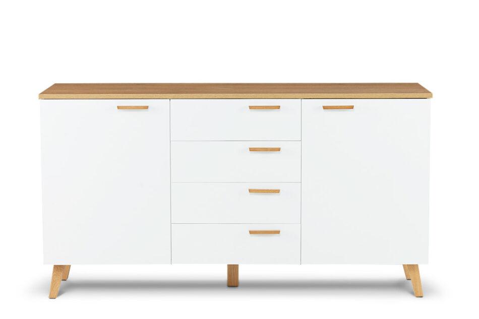 FRISK Biała komoda z szufladami skandynawska biały/dąb naturalny - zdjęcie 0
