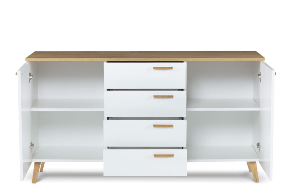 FRISK Biała komoda z szufladami skandynawska biały/dąb naturalny - zdjęcie 3