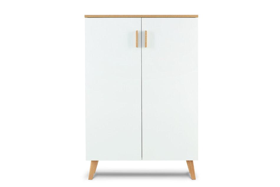 FRISK Komoda w stylu skandynawskim biała do salonu biały/dąb naturalny - zdjęcie 0