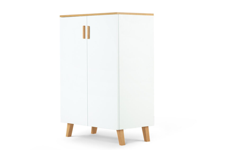 FRISK Komoda w stylu skandynawskim biała do salonu biały/dąb naturalny - zdjęcie 2