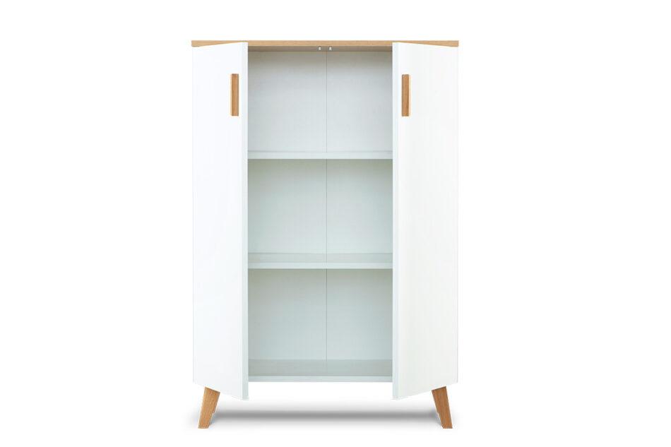 FRISK Komoda w stylu skandynawskim biała do salonu biały/dąb naturalny - zdjęcie 3