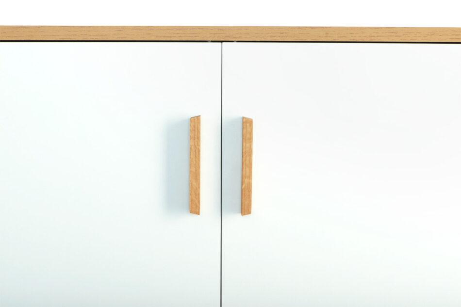 FRISK Komoda w stylu skandynawskim biała do salonu biały/dąb naturalny - zdjęcie 5