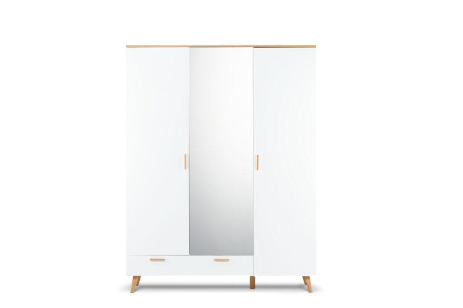 FRISK Biała szafa z lustrem w stylu skandynawskim biały/dąb naturalny - zdjęcie 0