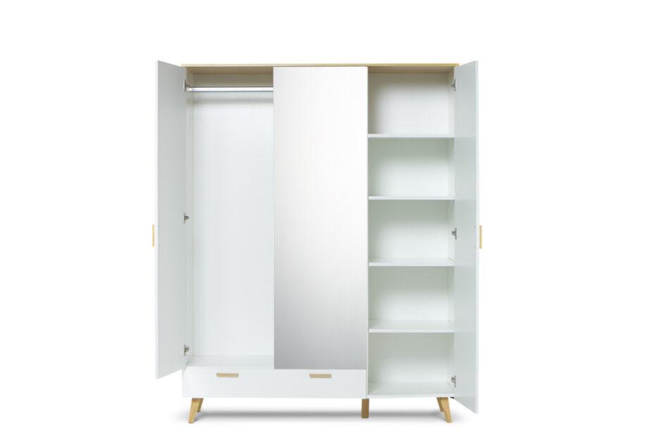 FRISK Biała szafa z lustrem w stylu skandynawskim biały/dąb naturalny - zdjęcie 4
