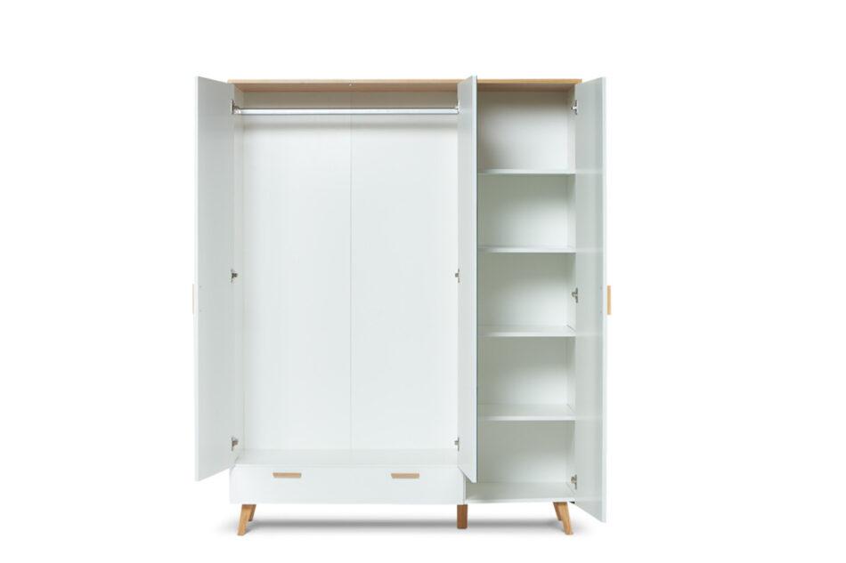 FRISK Biała szafa z lustrem w stylu skandynawskim biały/dąb naturalny - zdjęcie 3